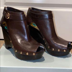 Michael Kors brown leather peep doe wedge heels